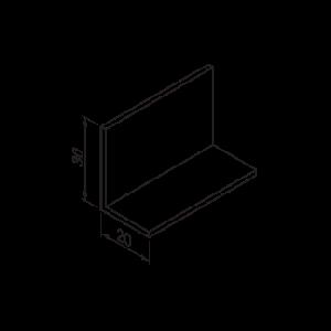 Hoeklijn 20x30x2